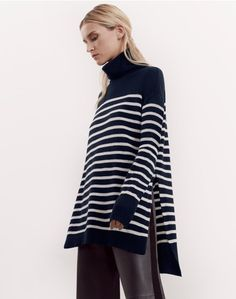 10 Wardrobe Essentials Every Girl Needs In Her Closet - Career Girl Daily Simple Wardrobe, Contemporary Dresses, Striped Turtleneck, Every Girl, Trousers Women, Capsule Wardrobe, Knitwear, Women Wear, Tunic Tops