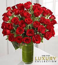 Fate Luxury Rose Bouquet - 48 Stems of 24-inch Premium Long-Stemmed Roses - VASE INCLUDED
