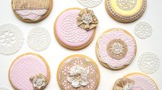 Learn how to use SugarVeil® icing to decorate wedding cookies in this tutorial by SweetAmbs! Galletas Cookies, Iced Cookies, Royal Icing Cookies, Sugar Cookies, Biscotti Cookies, Wedding Shower Cookies, Bridal Shower, Sugar Lace, Sugar Veil