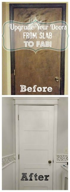 change up your plain, boring hollow core doors by adding some trim. brillliant!