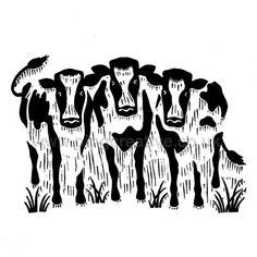 Cow Herd Lino Print Designed by Wayne Lockwood