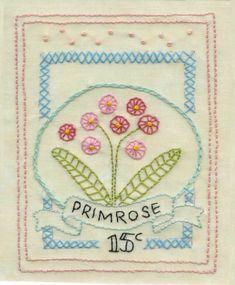 4.The Girls Own Stitching Club- Primrose Sampler. How to: blanket stitch pinwheels &fly stitch