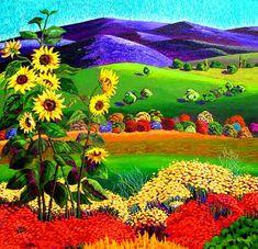 Bright Landscape - small Puzzle created by Image copyright: Gene Brown Impressionist Landscape, Abstract Landscape, Landscape Paintings, Art Marron, Images D'art, Sunflower Art, Brown Art, Southwest Art, Primitive Folk Art