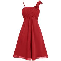 Dresstells Short Bridesmaid Dress One Shoulder Chiffon Homecoming... ($86) ❤ liked on Polyvore featuring dresses, red cocktail dress, short bridesmaid dresses, short red dress, one shoulder cocktail dress and bridesmaid dresses