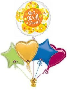 """Get Well balloons in a box are a great way to cheer some one up when they are under the weather. Send this """"Yellow Daisies"""" Get Well balloon in a box to guarantee a big surprise!"""