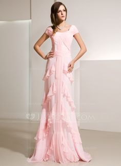 Evening Dresses - $146.99 - A-Line/Princess Scoop Neck Sweep Train Chiffon Evening Dress With Ruffle (017014216) http://jjshouse.com/A-Line-Princess-Scoop-Neck-Sweep-Train-Chiffon-Evening-Dress-With-Ruffle-017014216-g14216