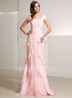 Vestidos princesa/ Formato A Decote redondo Trem da varredura De chiffon Vestido de festa com Babados em cascata (017014216)