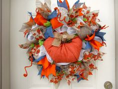 Deluxe Cream Orange Pumpkin Welcome Fall by NicoleDCreations