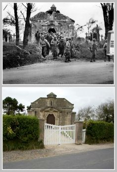 La Madeleine, a A group of GI€™s leaving the chapel after a mass, june 1944.