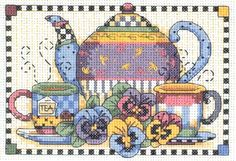 Dimensions Crafts Teatime Pansies Counted Cross Stitch Kit 6877 for sale online Cross Stitch Kitchen, Mini Cross Stitch, Counted Cross Stitch Kits, Cross Stitch Embroidery, Cross Stitching, Cross Stitch Designs, Cross Stitch Patterns, Needlepoint Kits, Scrappy Quilts