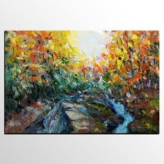 Original Abstract art for living room. Buy large canvas art for living room. Hand painted art on canvas. River Painting, Hand Painting Art, Online Painting, Large Painting, Oil Painting Abstract, Abstract Art, Painting Canvas, Paintings Online, Painting Trees