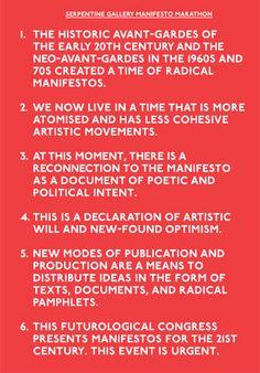 Serpentine Gallery Manifesto Marathon.