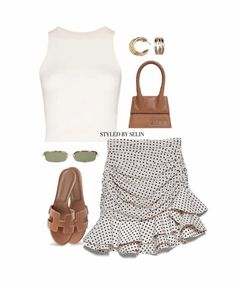 Cute Casual Outfits, Pretty Outfits, Chic Outfits, Summer Outfits, Girl Outfits, Casual Clothes, Pretty Clothes, Skirt And Top Set, Girl Boss