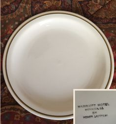"Homer Laughlin 9"" Plate. Backstamped : Marriott Hotel Washington DC by Homer Laughlin."