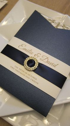 Pocket Sleeve Navy and Gold Invitations with satin ribbon sash and crystal brooch Laser Cut Wedding Invitations, Gold Invitations, Wedding Stationary, Wedding Invitation Cards, Wedding Cards, Invites, Blue Wedding, Dream Wedding, Wedding App