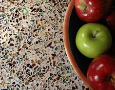 Recycled glass formed into beautiful countertops