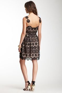 Lace Synched Waist Silk Dress. I love the details on the straps♡♡