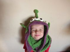 Handmade Crochet Toy Story Alien Hood child by MadeWithYarnAndMore