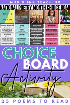Secondary ELA teachers who need creative ideas and supplementary texts for their units can use this digital choice board activity for a variety of monthly celebrations including: National Poetry month, Women's history month, Black History Month, Hispanic heritage month, and more! Creative lesson plans include voices from diverse places and BIPOC authors. Hispanic History Month, Hispanic Heritage Month, Middle School Ela, High School, Monthly Celebration, Poetry Lessons, National Poetry Month, Bell Work, Choice Boards
