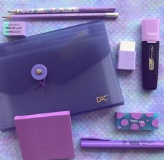 #purple Stationary Store, Stationary School, School Stationery, Cute Stationery, Too Cool For School, Back To School, Middle School Supplies, School Survival Kits, School Suplies