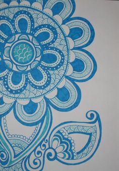 Blue Sharpie flower!