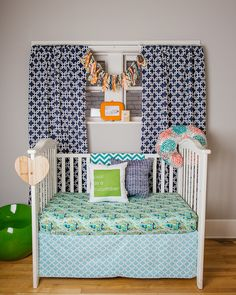 Blue and Green and Modern Nursery - we love that @drawstringhome's decor transition from infant to toddler and beyond!