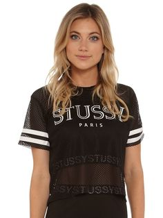 Paris Crop Grid Iron Mesh Crop T-Shirt in Black