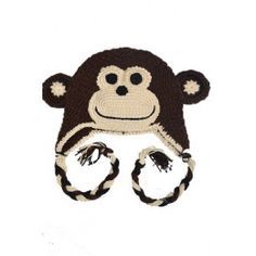 Gorro de crochet con forma de mono marrón. 100% Algodón. ¡Envío gratis 145be994761