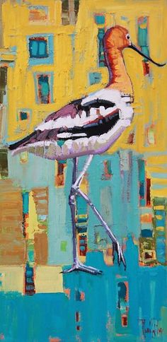 Solo  Avocet-Rene' Wiley- 24x12 inches- Original Oil on Canvas by Rene' Wiley Gallery Oil ~ 24 x 12
