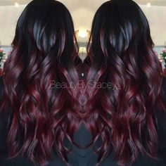 We've collected 47 gorgeous burgundy hair color ideas and styles that would look great with this sexy, rock-star hue. Go a bit outside your comfort zone and make an appointment with your stylist today to rock your new maroon or burgundy hair color! Brown Ombre Hair, Ombre Hair Color, Purple Hair, Burgendy Ombre Hair, Violet Hair, Dark Red Ombre, Black Cherry Ombre Hair, Deep Red Hair Color, Ombre Style