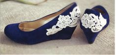 Reserved for Theresa Blue wedge with IVORY lace by walkinonair