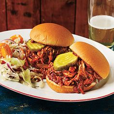Barbecue Pulled Chicken Sliders | CookingLight.com