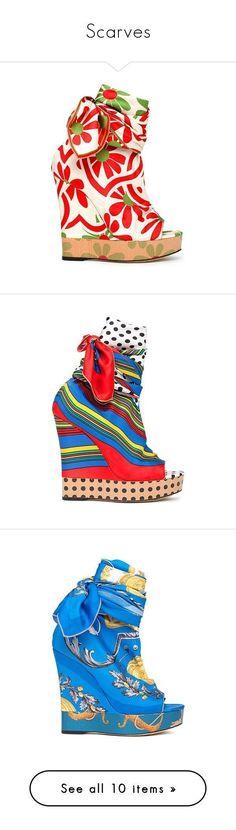 """Scarves"" by vilen ❤ liked on Polyvore featuring shoes, sandals, wedges, d&g, scarpe, summer footwear, wedge heeled shoes, wedge shoes, summer sandals and summer wedge sandals #sandalsheelssummer #wedgesshoes #sandalssummer"