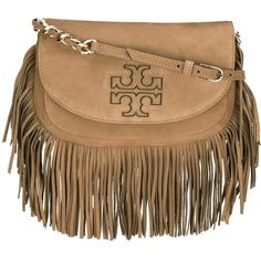Tory Burch 'Harper' fringed crossbody bag ($401) ❤ liked on Polyvore featuring bags, handbags, shoulder bags, brown, crossbody purses, leather crossbody purses, brown leather purse, leather crossbody handbags and leather cross body purse