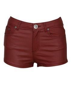 Parisian Wet Look Hot Pants Shorts in Burgundy £ 9.95 #chiarafashion