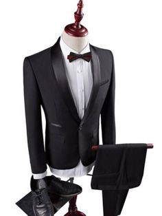 Contrast Trim Three Piece Slim Fit Plain Mens Dress Suit We always strive to provide our customers with high quality products at a competitive price and catered to their explicit needs. Dress Suits For Men, Suits For Women, Mens Suits, Men Dress, Vest And Tie, Custom Made Clothing, Groom Tuxedo, Groomsmen Suits, Suit Shop