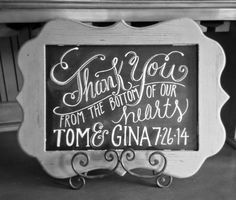 Quill & Ink ~ Thank You chalkboard sign. Mr & Mrs. Bride & Groom, Wedding