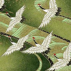 "Japanese Yuzen Washi Paper  Bulk Pack 8 1/2"" x 11""  Green Flying Cranes"