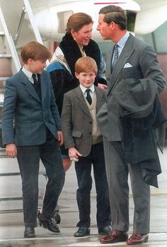 Tiggy Legge-Bourke, pictured with the Prince Charles, Prince of Wales and his young sons at Zurich Airport in 1994, was nanny to Prince William and Prince Harry and personal assistant to Charles between 1993 and '97