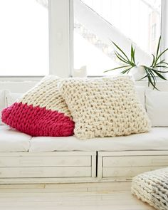 #knit cushions ~ pattern from Knitting Without Needles by Anne Weil