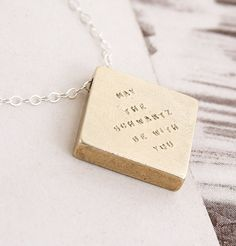 Clean Slate Necklace - we'll customize it with any phrase you want.  $80.