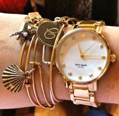 alex and ani charm bracelets. and Kate Spade watch. Love the look! Gold Accessories, Other Accessories, Fashion Accessories, Kate Spade Watch, Diamond Are A Girls Best Friend, Gold Watch, Fasion, Women's Fashion, Jewelry Box