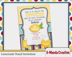 Lemonade Stand Birthday Party invitation, perfect for those hot summer birthday parties. Set up a lemonade stand or just use it as your theme. It's sure to be a great time!