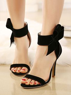 Black Bowknot Embellishment Suedette Barely There Heeled Sandals