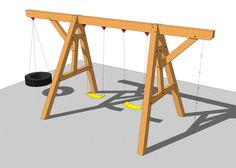 This simple but fun timber frame swing set would be a great beginner's project and allows your kids or grand kids to have to have hours of fun.