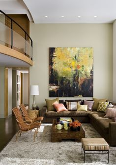 Home Interior Design — Living rooms with abstract art as the central. Interior Design Living Room, Living Room Decor, Living Spaces, Interior Decorating, Living Rooms, Hanging Art, Beautiful Space, Home Art, Decoration