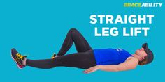 straight leg lift exercise to strengthen muscles around your knee to eliminate patellofemoral pain syndrome Knee Physical Therapy Exercises, Knee Pain Exercises, Stretches, Chondromalacia Patella Exercises, Whole30 Weight Loss, Straight Leg Lifts, Knee Pain Relief, Knee Injury, Workout Challenge