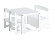 White Children set with a bench, 2 chairs and a Table by Hoppekids Wood Table Bases, Table And Chairs, Table Bench, Stool Height, Table Height, White Table Top, Writing Table, Play Table, Indoor Air Quality
