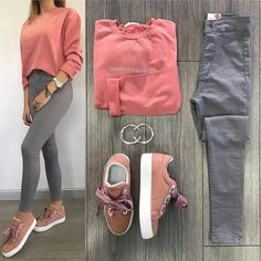 2019 Gri Pantolon Kombinleri Gri Skinny Pantolon Pembe Sweartshirt Pembe Spor Ayakkabı Gray Pants Combines Gray Skinny Pants Pink Sweartshirt Pink Sport Shoes the is Adrette Outfits, Tumblr Outfits, Preppy Outfits, Teen Fashion Outfits, Stylish Outfits, Fashion Clothes, Fashion Women, Fashion Trends, Terno Casual