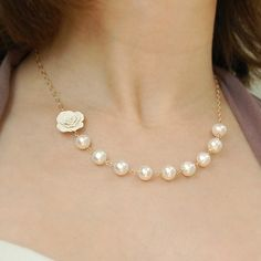 White Rose and Pearl Necklace on Gold 4